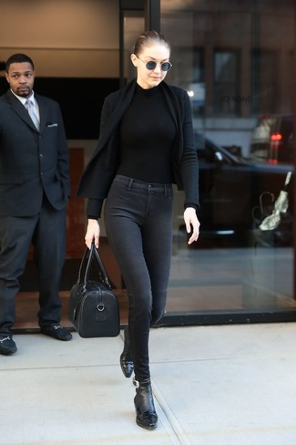 How to wear: black open cardigan, black turtleneck, charcoal skinny jeans, black leather ankle boots