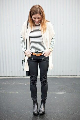 How to wear: white knit open cardigan, white and black horizontal striped turtleneck, black leather skinny jeans, black leather ankle boots