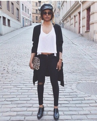 How to wear: black open cardigan, white v-neck t-shirt, black ripped skinny jeans, black leather platform loafers