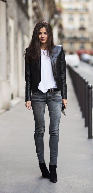 How to wear: black leather open jacket, white crew-neck t-shirt, grey skinny jeans, black suede wedge ankle boots