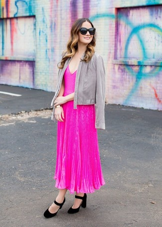 How to wear: grey open jacket, hot pink pleated midi dress, black suede pumps, black sunglasses