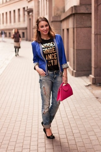 How to wear: blue leather open jacket, black and gold print sleeveless top, navy ripped boyfriend jeans, black leather ballerina shoes