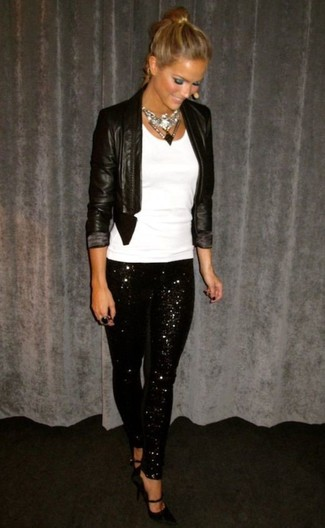 Pair a black leather open jacket with women's Wdny Black Pull On Sequin Leggings to create a chic, glamorous look. Add black leather pumps to your outfit for an instant style upgrade. If you're looking for a neat look that transitions easily into spring, look no further.