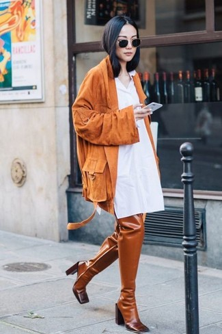How to wear: orange suede biker jacket, white shirtdress, tobacco leather over the knee boots, black sunglasses