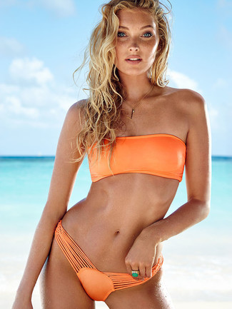 How to wear: orange bikini top, orange bikini pant, green ring