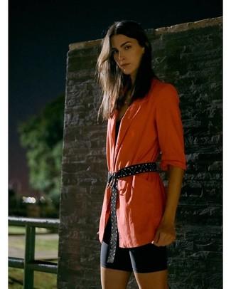 How to wear: orange blazer, black tank, black bike shorts, black studded suede belt
