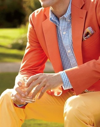 No matter where you go over the course of the day, you'll be stylishly prepared in a mustard jacket and yellow chinos.