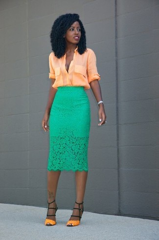 How to wear: orange button down blouse, green lace pencil skirt, orange leather heeled sandals