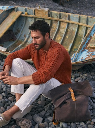How to wear: orange cable sweater, white horizontal striped chinos, beige suede low top sneakers, dark brown backpack