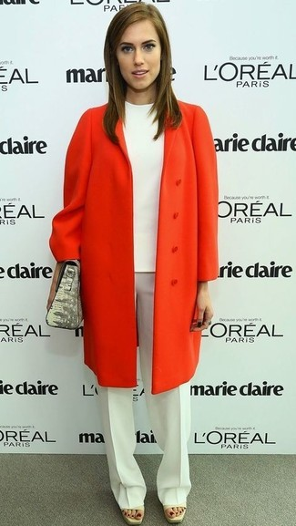 Orange coat white short sleeve blouse white dress pants grey handbag large 959