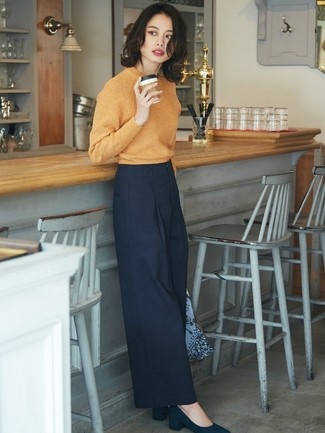 How to wear: orange crew-neck sweater, navy wide leg pants, navy suede pumps