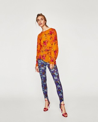 How to wear: orange floral long sleeve blouse, blue floral leggings, red leather heeled sandals