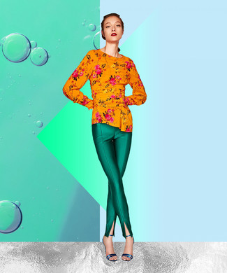 Green Skinny Pants Outfits: If you're searching for a laid-back but also totaly chic outfit, rock an orange floral long sleeve blouse with green skinny pants. If not sure as to the footwear, stick to a pair of blue leather heeled sandals.
