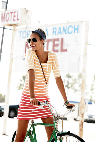 How to wear: orange horizontal striped casual dress, black sunglasses, navy headband