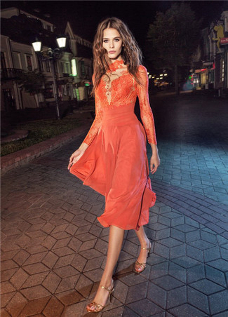 How to wear: orange lace midi dress, gold leather heeled sandals