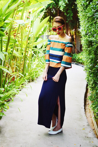 How to wear: orange off shoulder top, navy maxi skirt, white leather ballerina shoes, red sunglasses