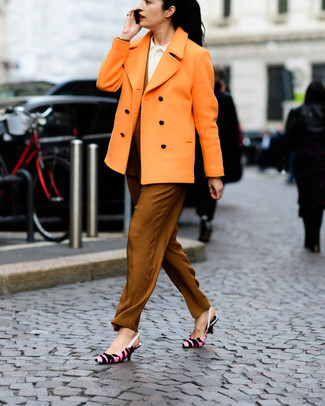 Look stylish yet practical in an orange pea coat and tobacco tapered pants. Pink print leather pumps look awesome here. With spring in the air, it's time to make space for simple and chic outfits, just like this.