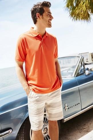 Men's Orange Polo, Beige Horizontal Striped Shorts