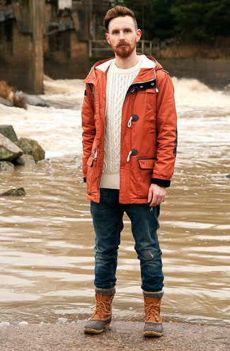 Mustard Raincoat with Pants Outfits For Men: Marry a mustard raincoat with pants for comfort dressing with a twist. Tobacco snow boots are a stylish accompaniment for your getup.