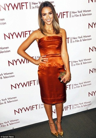 How to wear: orange satin sheath dress, gold leather pumps, gold clutch