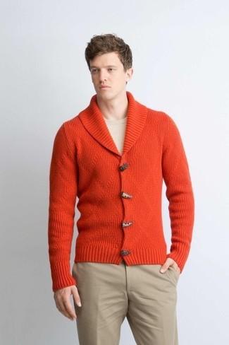 How to wear: orange shawl cardigan, beige crew-neck sweater, beige chinos