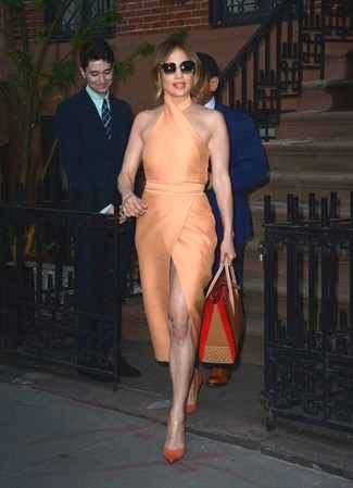 Jennifer Lopez wearing Orange Sheath Dress, Orange Suede Pumps, Tan Leather Tote Bag