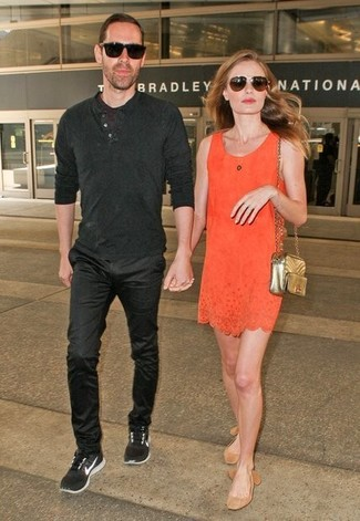 How to wear: orange shift dress, tan suede ballerina shoes, gold quilted leather crossbody bag, dark brown sunglasses