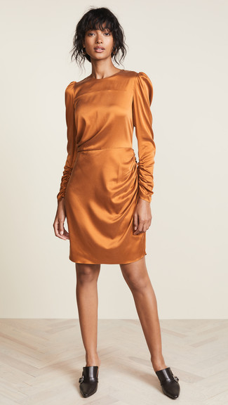 How to wear: orange silk sheath dress, black leather mules