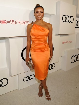 Kat Graham wearing Orange Silk Sheath Dress, Gold Leather Heeled Sandals, Gold Clutch