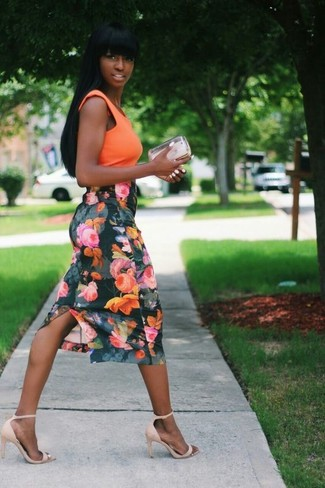 How to wear: orange sleeveless top, dark green floral pencil skirt, beige suede heeled sandals, silver clutch