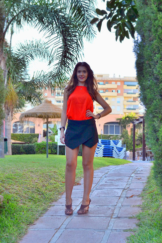 How to wear: orange silk tank, black mini skirt, brown suede heeled sandals, black and gold watch