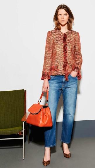 How to wear: orange tweed jacket, blue jeans, brown snake leather pumps, orange leather satchel bag