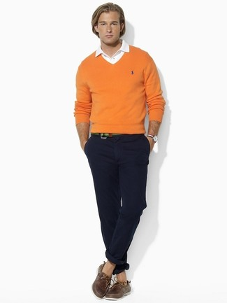 How to Wear an Orange V-neck Sweater (22 looks) | Men's Fashion