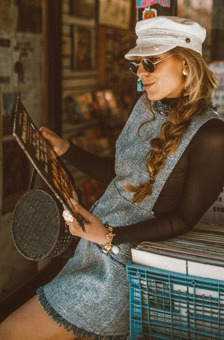 Women's Grey Tweed Overall Dress, Black Mesh Long Sleeve T-shirt, Black Straw Tote Bag, White Flat Cap