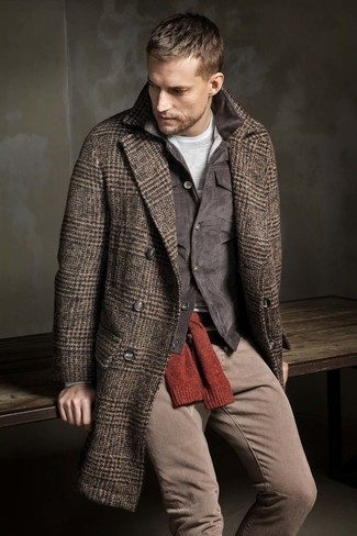 Trim Fit Herringbone Wool Cashmere Coat