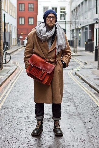 A brown overcoat and a beanie hat is a greatcombo for you to try. Want to go easy on the shoe front? Go for a pair of black leather casual boots for the day. Nothing like a cool look to spice up a bleak autumn afternoon.