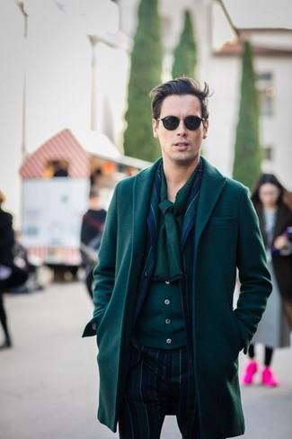 How to wear: dark green overcoat, navy and green vertical striped blazer, dark green cardigan, navy and green vertical striped dress pants