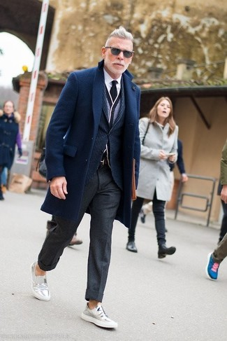 How to wear: navy overcoat, navy vertical striped blazer, grey cardigan, white dress shirt
