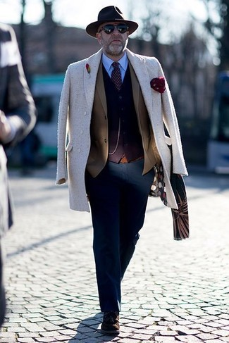 How to wear: beige overcoat, brown blazer, dark brown cardigan, light blue dress shirt