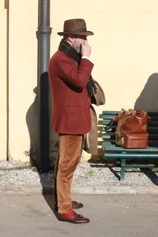 How to wear: brown overcoat, tobacco plaid wool blazer, brown corduroy chinos, brown leather tassel loafers