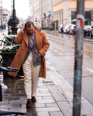 Men's Outfits 2021: Perfect the effortlessly smart getup in a tobacco overcoat and grey chinos.