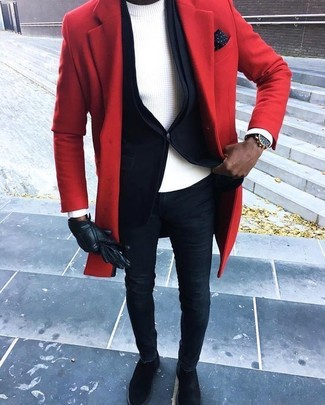 How to wear: red overcoat, black blazer, white crew-neck sweater, navy skinny jeans