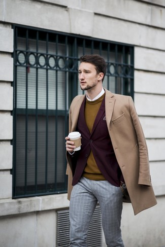 How to wear: camel overcoat, burgundy blazer, mustard crew-neck sweater, white dress shirt