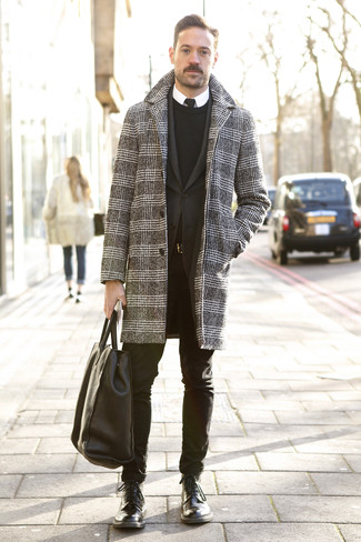 How to wear: black and white houndstooth overcoat, black blazer, black crew-neck sweater, white dress shirt