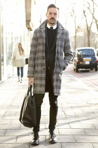 How to Wear a Black Tie For Men: This pairing of a grey houndstooth overcoat and a black tie is great for dressier settings. Let your sartorial sensibilities really shine by finishing your outfit with a pair of black leather casual boots.