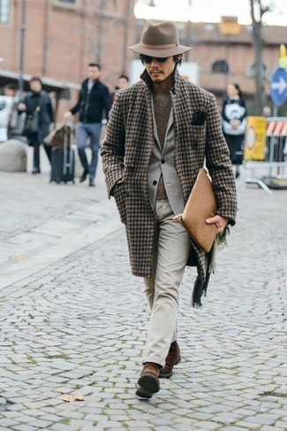 How to Wear Black Leather Gloves For Men: This pairing of a brown houndstooth overcoat and black leather gloves is impeccably dapper and yet it looks functional and apt for anything. Why not take a more sophisticated approach with footwear and add a pair of brown suede chelsea boots to this ensemble?