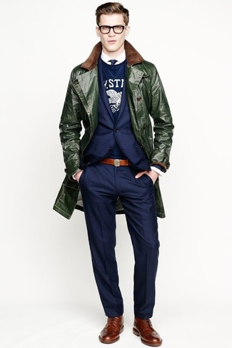 How to wear: dark green overcoat, navy blazer, navy and white print crew-neck sweater, white long sleeve shirt