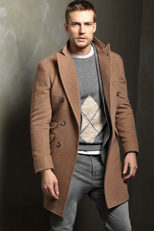 Tweed mantel mit herringbone muster