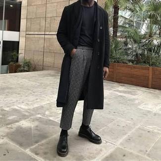 How to wear: black overcoat, black blazer, black crew-neck t-shirt, black and white check dress pants