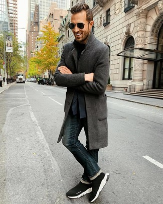 How to wear: charcoal overcoat, navy blazer, black crew-neck t-shirt, navy jeans